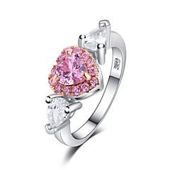 billige Motering-Dame Kubisk Zirkonium Stable Ring - S925 Sterling Sølv Hjerte Romantikk 6 / 7 / 8 Sølv Til Gave