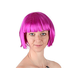 cheap Wigs & Hair Pieces-Synthetic Wig / Cosplay Wig Women's Straight Bob Synthetic Hair 12 inch Fashionable Design / Cosplay / Adorable Rose Pink Wig Short Machine Made Pink Natural Black Rose / Green