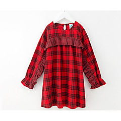 baratos Roupas de Meninas-Infantil Para Meninas Xadrez Manga Longa Vestido