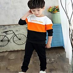 billige Tøjsæt til drenge-Børn Drenge Aktiv Farveblok Langærmet Bomuld / Akryl Tøjsæt Blå 130