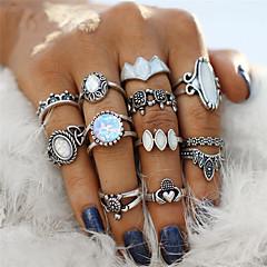 billige Motering-Par Opal Retro Ring Nail Finger Ring Midi Ring - Akryl, Legering Blomst, Skilpadde Bohemsk, Punk Sølv Til Fest Halloween Gave / 12pcs