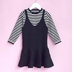 tanie Odzież dla dziewczynek-Brzdąc Dla dziewczynek Jendolity kolor / Prążki Długi rękaw Komplet odzieży