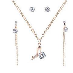 baratos Conjuntos de Bijuteria-Mulheres Franjas Fashion Conjunto de jóias - Imitações de Diamante Sapato Estiloso, Clássico, Borla Incluir Brincos Compridos Colar Dourado Para Diário