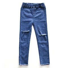 billige Jeans til piger-Børn Pige Aktiv Ensfarvet Bomuld Jeans
