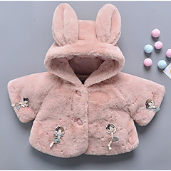 billige Jakker og frakker til piger-Baby Pige Basale Ensfarvet Langærmet Normal Polyester dun- og bomuldsforet Hvid