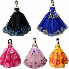 Χαμηλού Κόστους Αξεσουάρ για κούκλες-Φορέματα Φόρεμα Για Κούκλα Barbie Μαύρος Συνδυασμός Τούλι / Δαντέλα / Μείγμα Μεταξιού / Βαμβακιού Φόρεμα Για Κορίτσια κούκλα παιχνιδιών