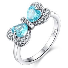 billige Motering-Dame Syntetisk akvamarin Elegant Ring - Kobber Hjerte Romantikk, Koreansk 6 / 7 / 8 / 9 / 10 Lyseblå Til Gave