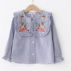billige Pigetoppe-Børn Pige Ensfarvet / Blomstret Langærmet Bluse