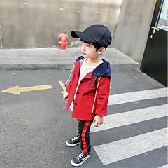 billige Overdele til drenge-Børn / Baby Drenge Aktiv Daglig Patchwork Trykt mønster Langærmet Normal Bomuld Bluse Grøn 100