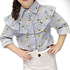 billige Pigetoppe-Børn Pige Trykt mønster Halvlange ærmer Skjorte