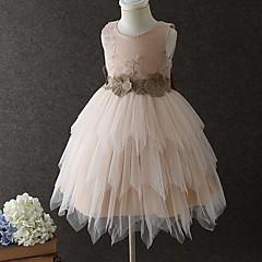 baratos Roupas de Meninas-Infantil / Bébé Para Meninas Estilo bonito Sólido Camadas Sem Manga Altura dos Joelhos Vestido