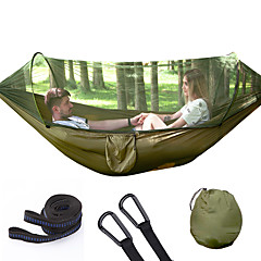 cheap Camping Furniture-Camping Hammock with Mosquito Net Outdoor Portable Folding, Moistureproof, Well-ventilated 70D Nylon for 2 person Hiking / Beach / Camping - Dark Green, Army Green, Rose Pink / Blue