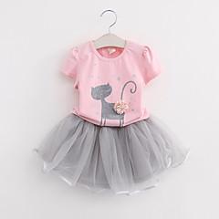 billige Tøjsæt til piger-Børn Pige Ensfarvet / Geometrisk Kortærmet Tøjsæt