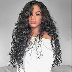 billiga Peruker och hårförlängning-Obehandlad hår Spetsfront Peruk Brasilianskt hår Lockigt Peruk Frisyr i lager 130% Naturlig hårlinje / Till färgade kvinnor Svart Dam Lång Äkta peruker med hätta