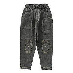 billige Jeans til drenge-Børn Drenge Aktiv Daglig Trykt mønster / Patchwork Hul / Patchwork Bomuld / Polyester Jeans Blå 100