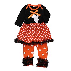 billige Sett med babyklær-Baby Pige Prikker Langærmet Tøjsæt
