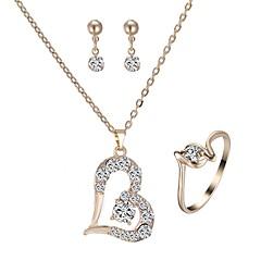 baratos Conjuntos de Bijuteria-Mulheres Clássico Conjunto de jóias - Imitações de Diamante Coração senhoras, Estiloso, Clássico Incluir Brincos Curtos Colar Anel Dourado Para Diário