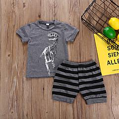 billige Tøjsæt til drenge-Børn / Baby Drenge Stribet / Tegneserie Kortærmet Tøjsæt