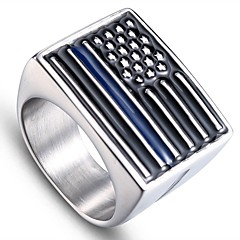 cheap Men's Rings-Men's Stylish Sculpture Ring - Stainless Flag Stylish, Simple, Unique Design Jewelry Silver For Daily Street 9 / 10 / 11 / 12