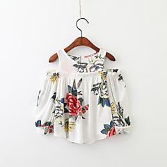billige Pigetoppe-Børn Pige Blomstret Langærmet Skjorte