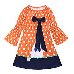 billige Babykjoler-Baby Pige Aktiv / Basale Ferie Prikker Blonder Langærmet Over knæet Bomuld / Polyester Kjole Orange 100