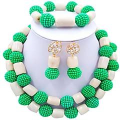 baratos Conjuntos de Bijuteria-Mulheres Camadas Conjunto de jóias - Bola Fashion Incluir Strands Necklace Vermelho / Verde / Rosa Para Festa Diário