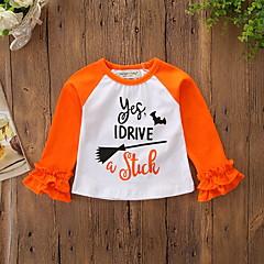 billige Babyoverdele-Baby Pige Aktiv / Basale Daglig / Ferie Trykt mønster Lag-på-lag Langærmet Normal Polyester / Spandex T-shirt Orange