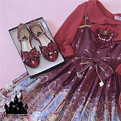 billige Lolitasko-Sweet Style Elegant Blokker hælen Sko Ensfarget Sløyfeknute 1-3 cm CM Rosa / Rød / Gylden Til PU Halloween-kostymer