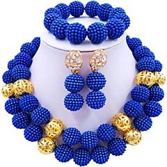 baratos Conjuntos de Bijuteria-Mulheres Camadas Conjunto de jóias - Bola Fashion Incluir Strands Necklace Verde / Rosa claro / Rosa Para Casamento
