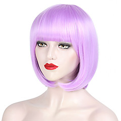 cheap Wigs & Hair Pieces-Synthetic Wig Women's Straight Black Bob Synthetic Hair 12/200 inch Party / Easy to Carry / Women Black / Pink Wig Short Half Capless Pink Purple Natural Black / Yes