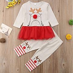 billige Sett med babyklær-Baby Pige Trykt mønster / Farveblok Langærmet Tøjsæt