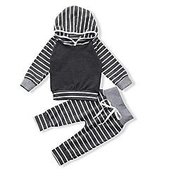 billiga Babykläder Pojkar-Bebis Pojkar Ledigt / Grundläggande Party / Helgdag Randig Långärmad Normal Normal Bomull Klädesset Grå / Småbarn