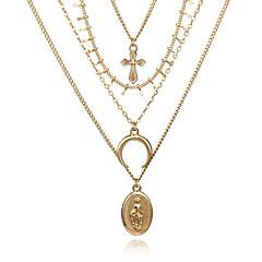 billige Halsbånd-Dame Lag-på-lag Kort halskæde - Kors, MOON Europæisk, Mode Guld 30 cm Halskæder Smykker 1pc Til Fest, Afslappet