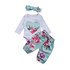 cheap Baby Girls' Clothing Sets-Baby Girls' Basic Daily Blue & White Floral Embroidered / Print Long Sleeve Long Regular Cotton Clothing Set White / Toddler