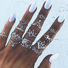 billige Motering-Dame Blå Krystall Vintage Stil Nail Finger Ring Knokering Midi Ring - Hest, Blomst, Krone Statement, Bohemsk, Punk Sølv Til Aftenselskap Maskerade / 13pcs