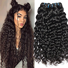 cheap Hair Extensions-4 Bundles Indian Hair Vietnamese Hair Water Wave 8A Human Hair Unprocessed Human Hair Gifts Cosplay Suits Natural Color Hair Weaves / Hair Bulk 8-28 inch Natural Color Human Hair Weaves Soft New