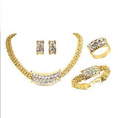baratos Conjuntos de Bijuteria-Mulheres Clássico Conjunto de jóias - Chapeado Dourado Luxo, Original, Na moda Incluir Sets nupcial Jóias Dourado Para Festa Presente