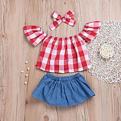 billige Sett med babyklær-Baby Pige Aktiv / Basale Fest / Ferie Ensfarvet / Ternet Uden ærmer Kort Kort Polyester Tøjsæt Rød