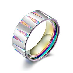 billige Motering-Herre Kubansk Link Band Ring - Titanium Stål Hip-hop 10 / 11 / 12 Svart / Gul / Regnbue Til Gave Profesjonell