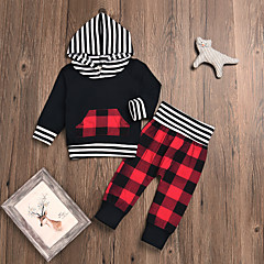 cheap Baby & Toddler Boy-Baby Boys' Casual / Basic Party / Holiday Black & Red Plaid Long Sleeve Cotton Clothing Set / Toddler
