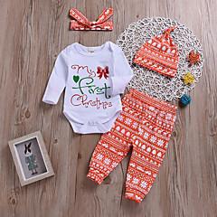 billige Sett med babyklær-Baby Pige Blomstret / Trykt mønster Langærmet Tøjsæt