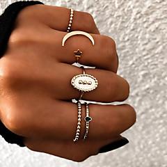 billige Motering-Dame Retro Knokering Ring Set Multi-fingerring - Harpiks Stjerne, Halvmåne Vintage, Punk, Bohem 8 Gull / Sølv Til Gave Daglig Gate / 5pcs