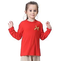 billige Pigetoppe-Børn Pige Basale Daglig Ensfarvet Sløjfer Langærmet Normal Polyester / Spandex T-shirt Grå