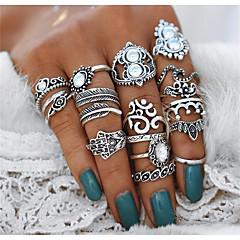 billige Motering-Dame Krystall Vintage Stil Statement Ring Ring Set - Hjerte, Blomst, Krone Statement, Bohemsk, Punk Sølv Til Aftenselskap Maskerade / 16pcs