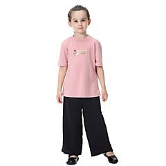 billige Tøjsæt til piger-Børn Pige Aktiv / Basale / Gade Fest / Daglig / Strand Ensfarvet Kortærmet Normal Polyester Tøjsæt Grå