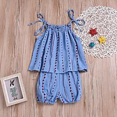 billige Sett med babyklær-Baby Pige Aktiv / Gade Ferie / I-byen-tøj Trykt mønster Blondér Uden ærmer Lang Normal Bomuld Tøjsæt Blå