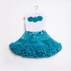 billige Tøjsæt til piger-Børn / Baby Pige Aktiv / Gade Daglig / I-byen-tøj Ensfarvet / Blomstret Sløjfer / Drapering Uden ærmer Normal Bomuld / Nylon Tøjsæt Lilla
