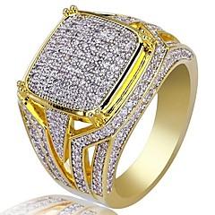 preiswerte Ringe-Herrn Kubikzirkonia Klassisch Ring - Strass Stilvoll, Luxus Schmuck Gold Für Hochzeit Party Geschenk Maskerade Verlobungsfeier Abiball 7 / 8 / 9 / 10 / 11