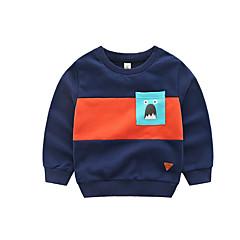 billige Hættetrøjer og sweatshirts til drenge-Børn Drenge Basale Farveblok Langærmet Bomuld Hættetrøje og sweatshirt Navyblå