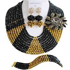 baratos Conjuntos de Bijuteria-Mulheres Camadas Conjunto de jóias - Fashion Incluir Strands Necklace Vermelho / Rosa / Champanhe Para Diário